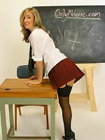 Melanie in mini skirt college uniform with black stockings