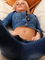 Victoria A teases her way from a full denim outfit