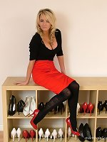 This blonde has some stunning nylon stockings on to go with her high heels