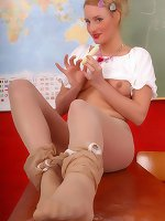 Peggy teaching in crotchles over suntan pantyhose