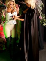 Gorgeous Dannii Harwood gets stripped off and forced to worship this very hot blonde lesbian reaper, she then enjoys a good ass spanking in this special halloween shoot